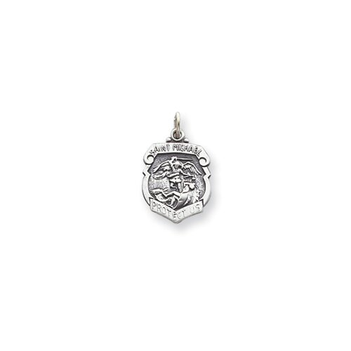 Jewelryweb Sterling Silver Saint Michael Badge Medal Charm