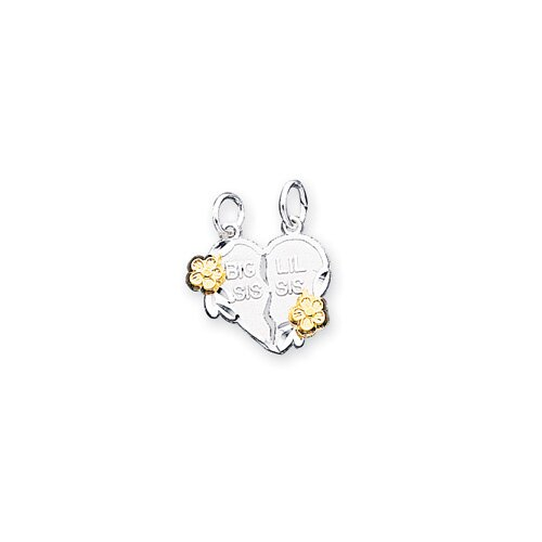 Sterling Silver Two - Tone Big Sis Lil Sis 2-Piece Break Apart Heart Charm