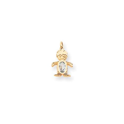 Jewelryweb 14k Birthstone Topaz Boy Charm