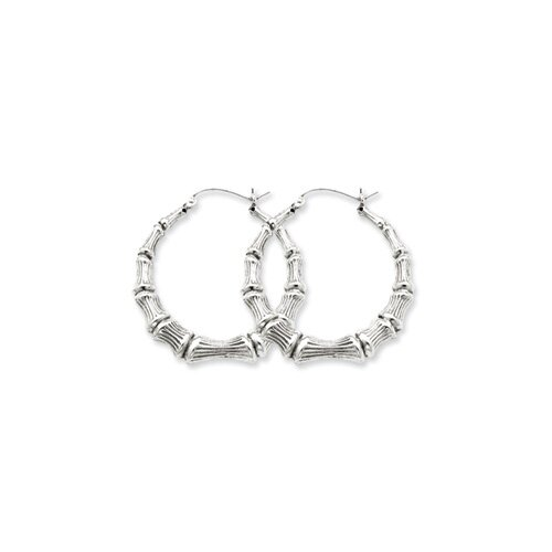 Sterling Silver Bamboo Hoop Earrings