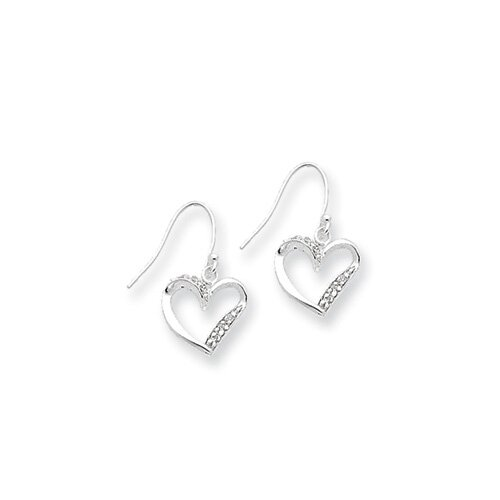 Sterling Silver Fancy Heart Earrings
