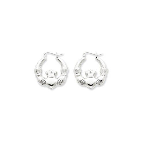 Jewelryweb Sterling Silver Polished Claddagh Hoop Earrings