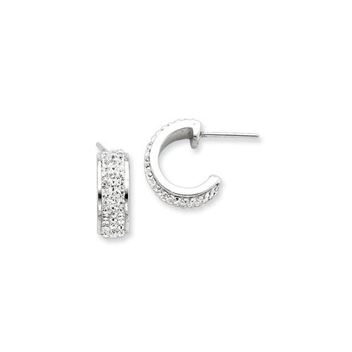 Sterling Silver With Crystal Hoop Earrings with Swarovski Elements