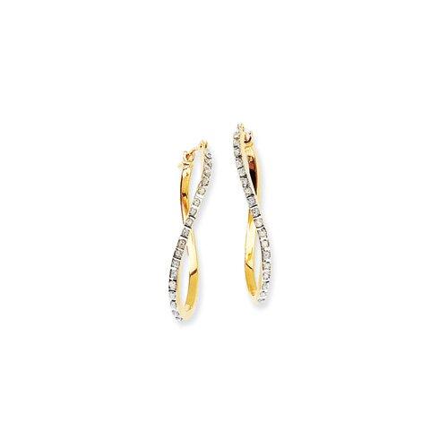 14k Diamond Fascination Twist Hinged Hoop Earrings