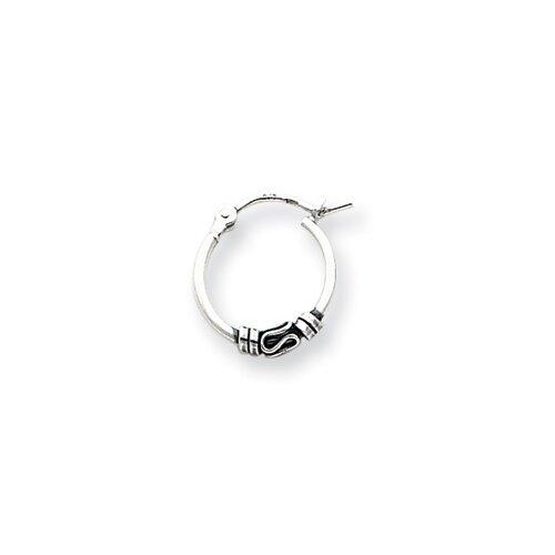 Jewelryweb Sterling Silver Round Antiqued Fancy Earrings