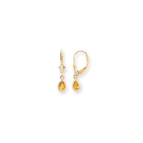 14k Citrine Earrings - November Birthstone - 7/8