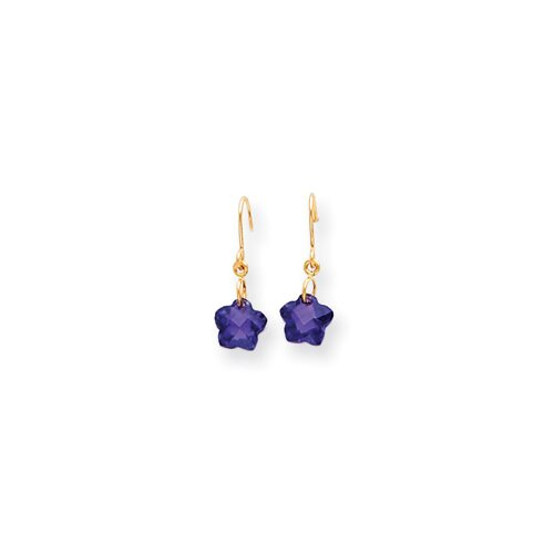 14k Wire Flower Purple CZ Childrens Earrings