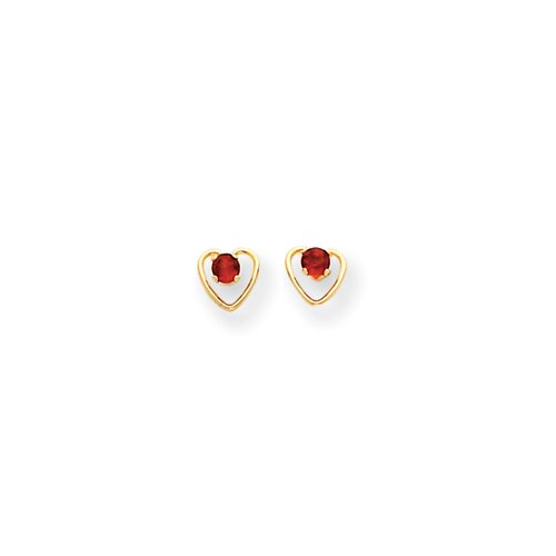 14k 3mm Garnet Birthstone Heart Childrens Earrings