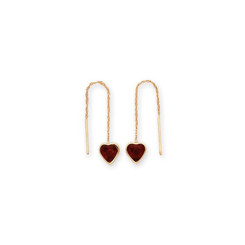 14k 6.25mm Garnet Heart Threader Earrings