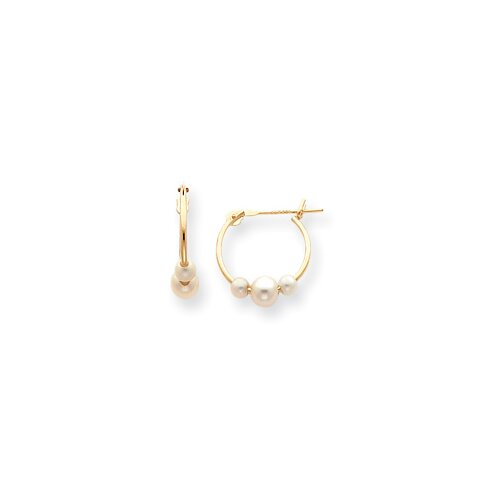 Jewelryweb 14k Pearl Hoop Earrings