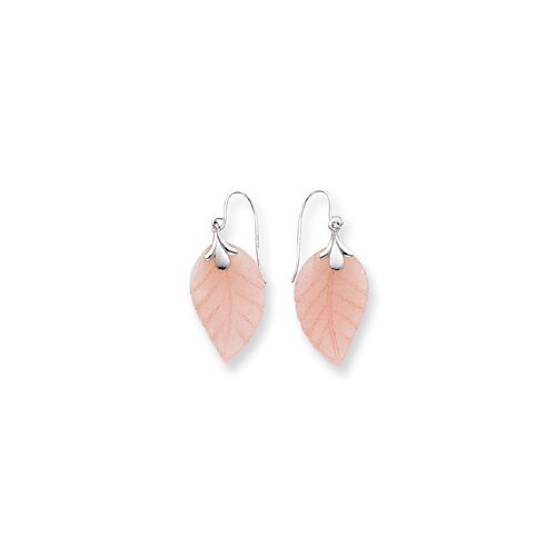 Jewelryweb 14k White Gold Rose Quartz Leaf Wire Earrings