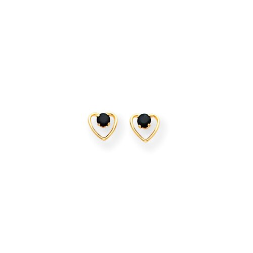 14k 3mm Sapphire Birthstone Heart Childrens Earrings
