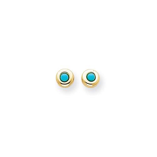 Jewelryweb 14k Polished Turquoise Post Earrings