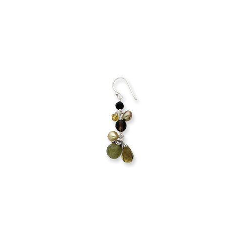 Jewelryweb Labidolite Smoky Quartz Cultured Pearl Lime Crystal Earrings