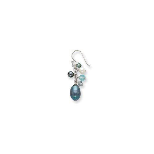 Jewelryweb Sterling Silver Blue Crystals Peacock White Cultured Pearl Earrings