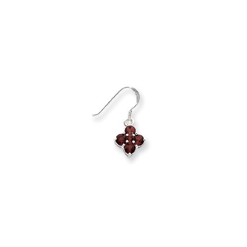 Sterling Silver Dangle Garnet Earrings