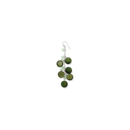 Jewelryweb Sterling Silver Green Mother of Pearl Disc and Jade Earrings