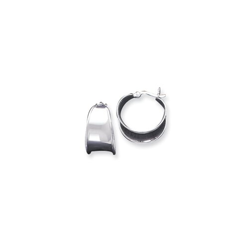 Sterling Silver Tapered Width Flat Hoop Earrings