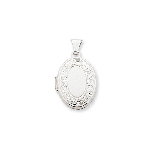 Jewelryweb 14k White Gold 17mm Oval Embossed Border Locket