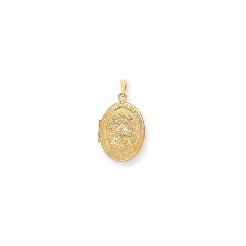Jewelryweb 24in Gold-plated Engraved Medium Oval Locket Necklace