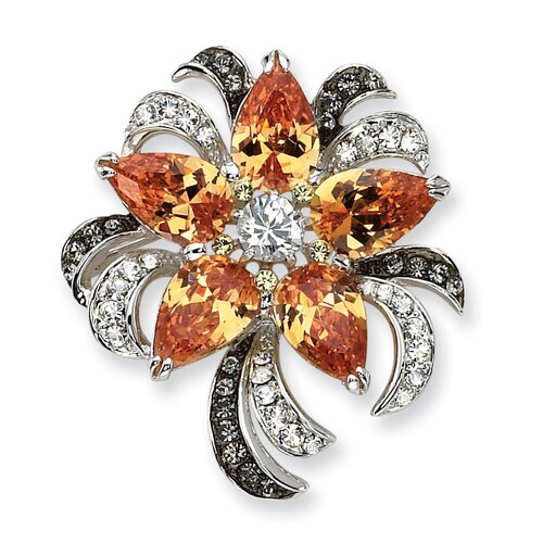 Black Diamond Flower Brooch Pin