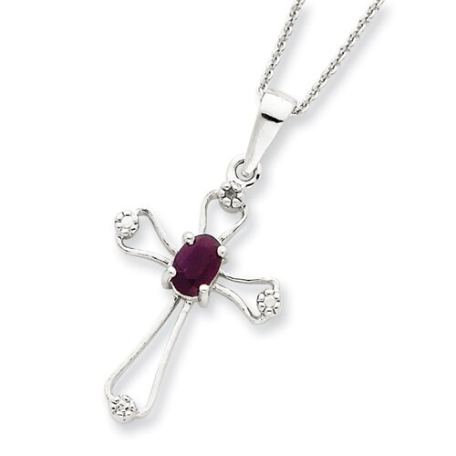 Sterling Silver Ruby Cross Necklace - Spring Ring