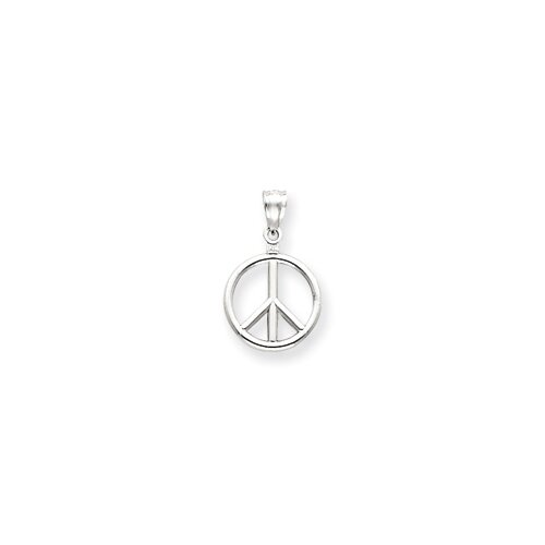 Jewelryweb 14k White Gold 3-D Peace Symbol In Circle Pendant
