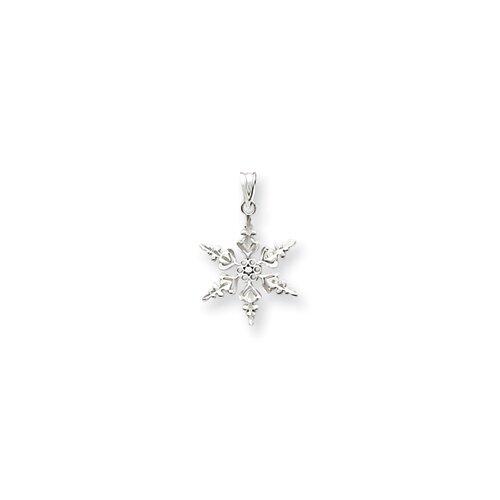 Jewelryweb 14k White Gold Diamond-Cut Snowflake Pendant