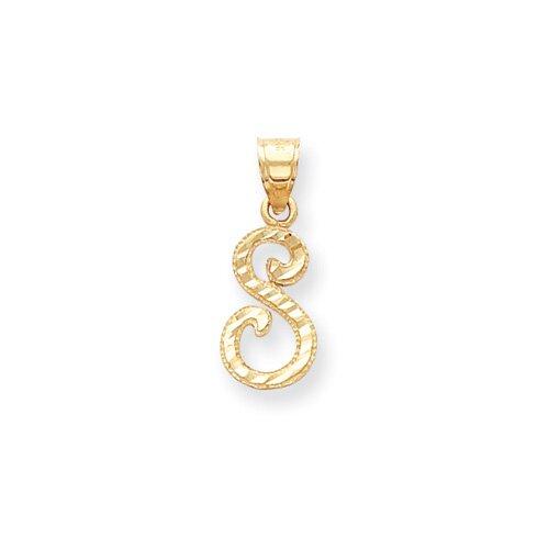 Jewelryweb 14k Diamond-Cut Fancy Initial S Pendant