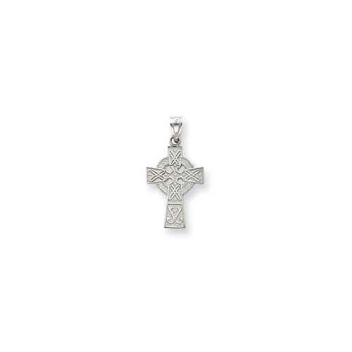 Jewelryweb 14k White Gold Celtic Cross Pendant