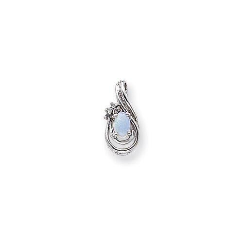 14k White Gold Diamond and Opal Birthstone Pendant