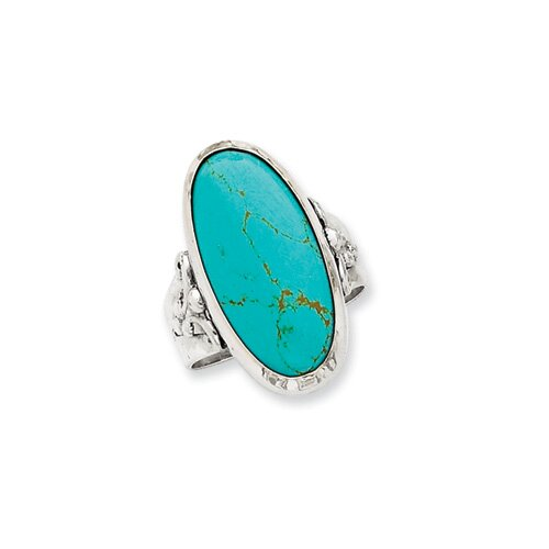 Jewelryweb Sterling Silver Antiqued Oval Turquoise Ring