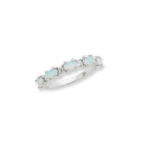 Jewelryweb Sterling Silver Created Opal and CZ Ring