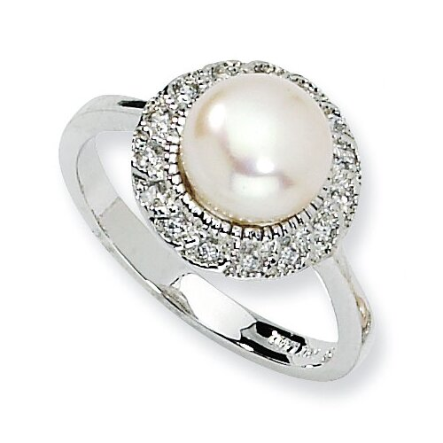 Jewelryweb Sterling Silver CZ White Cultured Pearl Ring