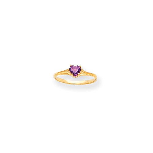 14k 4mm Amethyst Heart Childrens Ring