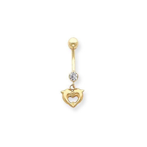 14K 14G Dolphins Kiss Belly Dangle