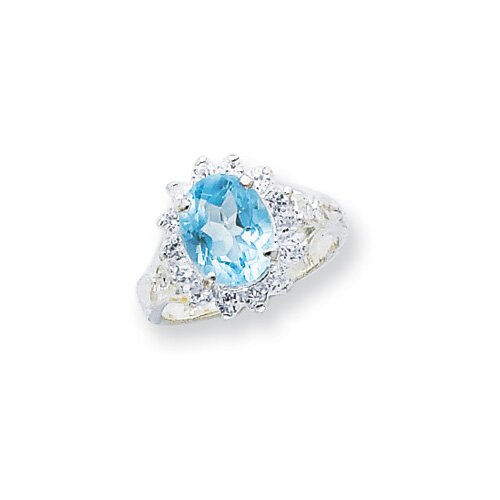 Jewelryweb Sterling Silver Oval Halo Ring