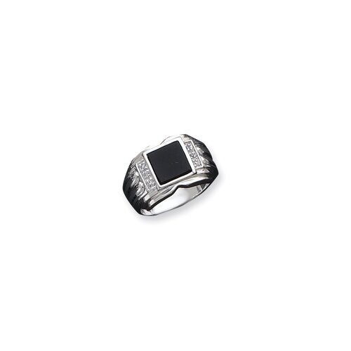 Jewelryweb Mens Sterling Silver Square Cubic Zirconia and Onyx Ring
