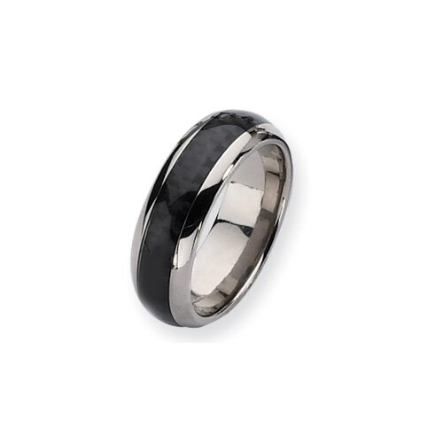 Jewelryweb Titanium Carbon Fiber 8mm Polished Band Ring