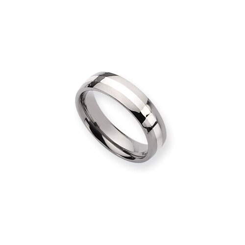 Jewelryweb Titanium Sterling Inlay Polished 6mm Wedding Band