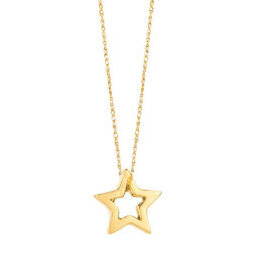 "Jewelryweb Solid 14K Yellow Gold 18"" Star-On-Cable Chain Necklace - Spring Ring closure"