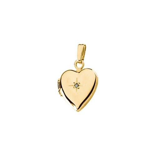 Jewelryweb 14k Yellow Gold Heart Shaped Locket With Diamond