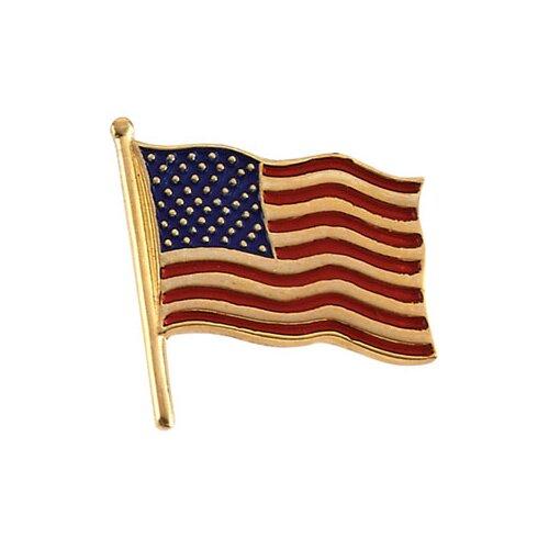 Jewelryweb 14k American Flag Lapel Pin