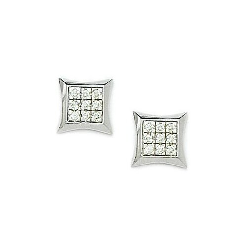 Small Square Cubic Zirconia Stud Earrings