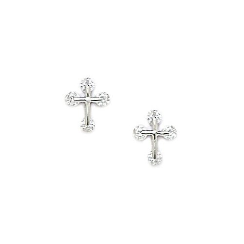 Small Cross Cubic Zirconia Stud Earrings