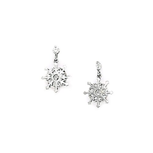 8 Point Star Cubic Zirconia Drop Earrings