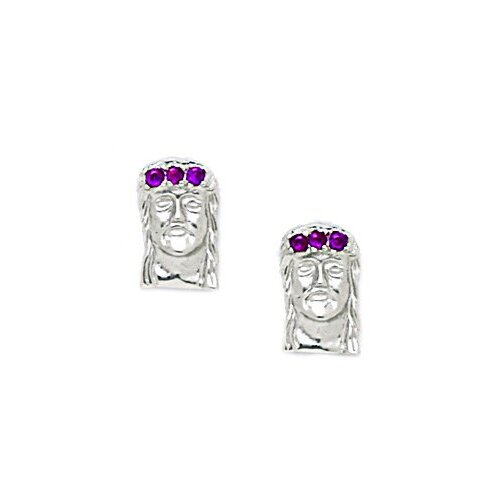 Jesus Cubic Zirconia Stud Earrings