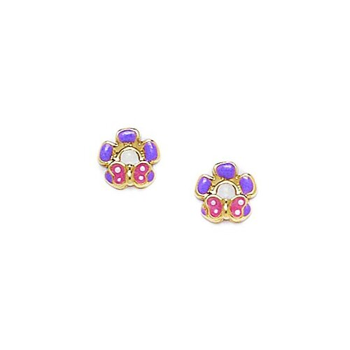 Butterfly Flower Enamel Stud Earrings