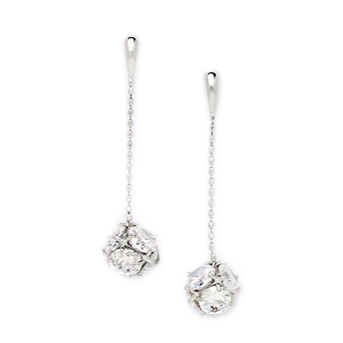 Ball Cubic Zirconia Drop Earrings