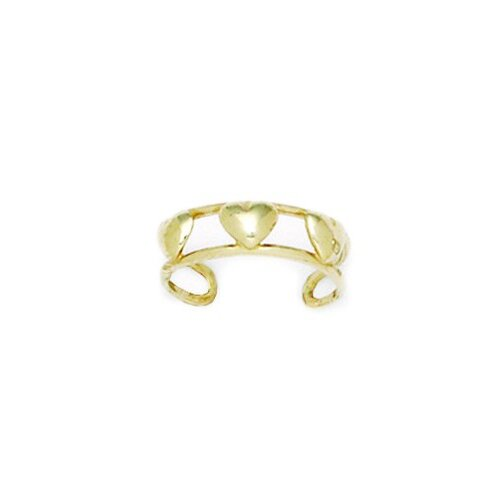 14k Yellow Gold Double Row With Hearts Adjustable Toe Ring